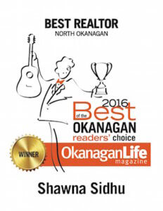 Shawna Sidhu - 2016 Best Realtor North Okanagan awarded by OkanaganLife Magazine